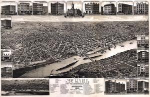 1883, St. Paul 1883 Bird's Eye View, Minnesota, United States