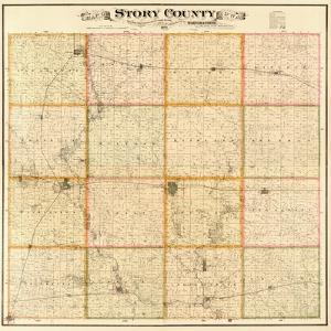 1883, Story County Wall Map, Iowa, United States