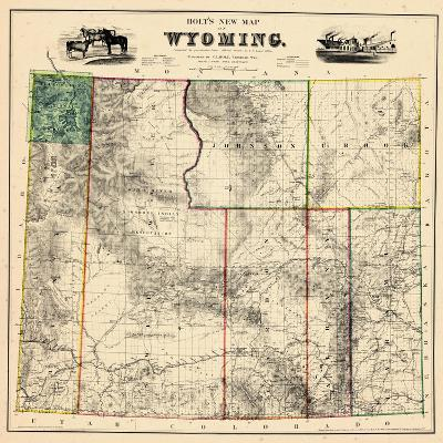 1883, Wyoming 1883 State Map, Wyoming, United States--Giclee Print