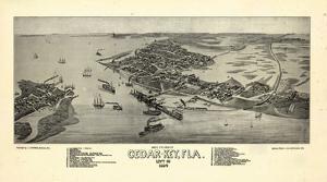 1884, Cedar Key Bird's Eye View, Florida, United States