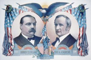 1884 Democratic Campaign Poster with Portraits of Grover Cleveland and Thomas A. Hendricks