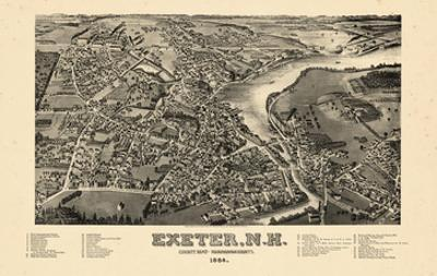 1884, Exeter Bird's Eye View, New Hampshire, United States
