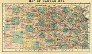 1884, Kansas State Map, Kansas, United States