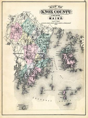 1884, Knox County Map, Maine, United States
