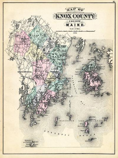 1884, Knox County Map, Maine, United States--Giclee Print