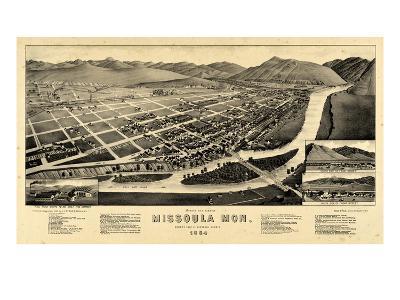 1884, Missoula Bird's Eye View, Montana, United States--Giclee Print