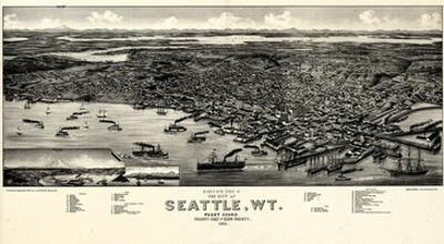 1884, Seattle Bird's Eye View, Washington, United States