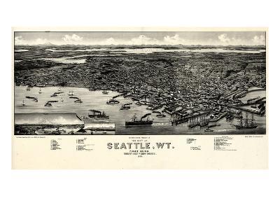 1884, Seattle Bird's Eye View, Washington, United States--Giclee Print