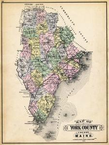 1884, York County Map, Maine, United States