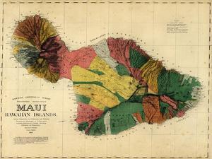1885, Maui Island Map, Hawaii, United States