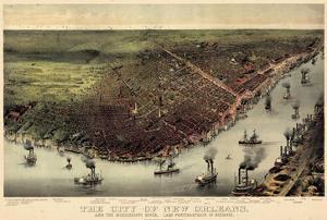 1885, New Orleans Bird's Eye View, Louisiana, United States