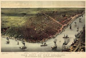 1885, New Orleans Bird's Eye View, Louisiana, United States