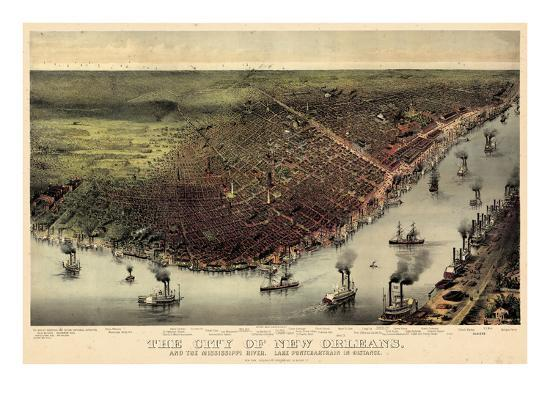 1885, New Orleans Bird's Eye View, Louisiana, United States--Giclee Print