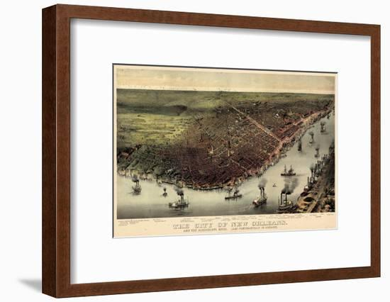 1885, New Orleans Bird's Eye View, Louisiana, United States-null-Framed Giclee Print