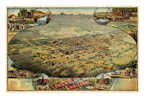 1885, Phoenix Bird's Eye View, Arizona, United States