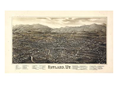 1885, Rutland Bird's Eye View, Vermont, United States--Giclee Print