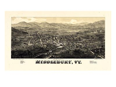 1886, Middlebury 1886c Bird's Eye View, Vermont, United States--Giclee Print