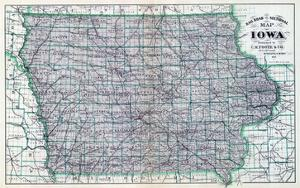 1887, Iowa Rail Road Sectional Map, Iowa, United States