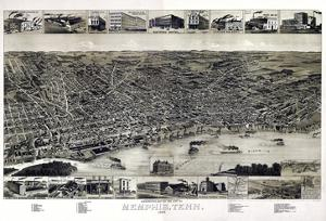 1887, Memphis Bird's Eye View, Tennessee, United States
