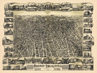 1888, Boston Bird's Eye View of the Highlands, Massachusetts, United States--Giclee Print