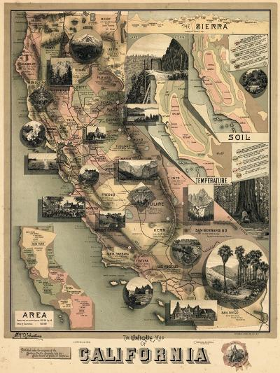 1888, California State Map, California, United States--Giclee Print