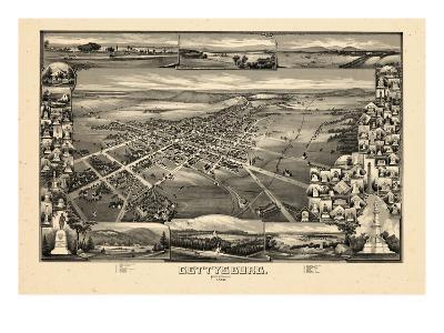 1888, Gettysburg Bird's Eye View, Pennsylvania, United States--Giclee Print