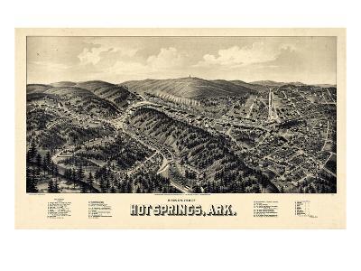 1888, Hot Springs Bird's Eye View, Arkansas, United States--Giclee Print