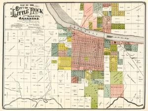 1888, Little Rock City Map, Arkansas, United States