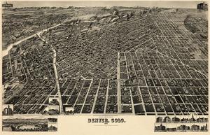 1889, Denver Bird's Eye View, Colorado, United States