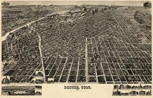 1889, Denver Bird's Eye View, Colorado, United States