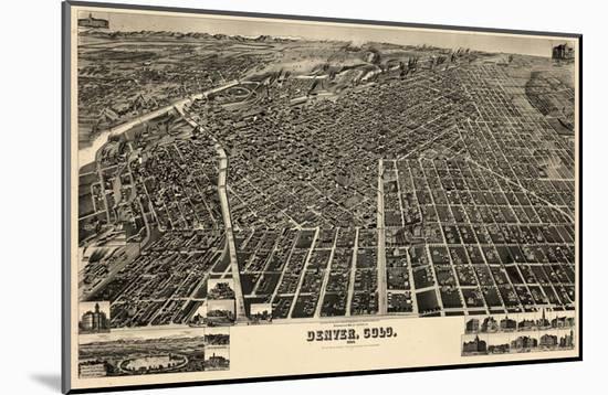 1889, Denver Bird's Eye View, Colorado, United States--Mounted Giclee Print