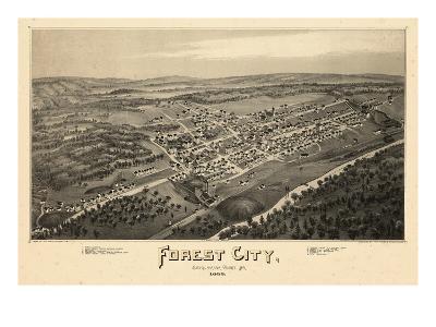 1889, Forest City Bird's Eye View, Pennsylvania, United States--Giclee Print