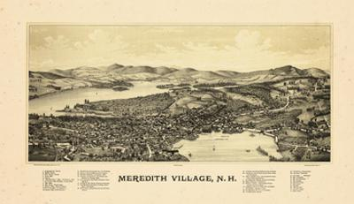 1889, Meredith Village Bird's Eye View, New Hampshire, United States