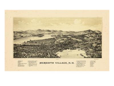 1889, Meredith Village Bird's Eye View, New Hampshire, United States--Giclee Print