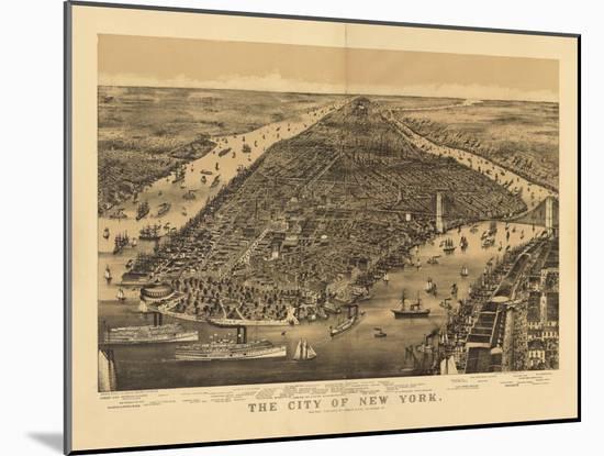 1889 NYC Map-N^ Harbick-Mounted Art Print
