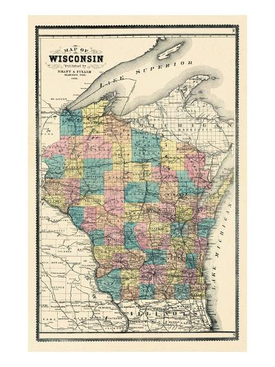 1889, State Map, Wisconsin, United States--Giclee Print
