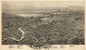 1890, Scranton Bird's Eye View, Pennsylvania, United States