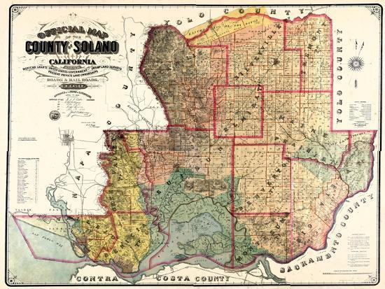 1890, Solano County Wall Map, California, United States Giclee Print by    Art.com