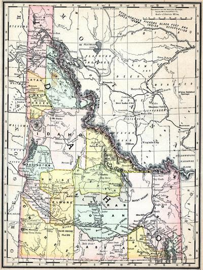 1890 World Map.1890 United States Idaho North America Idaho Giclee Print By