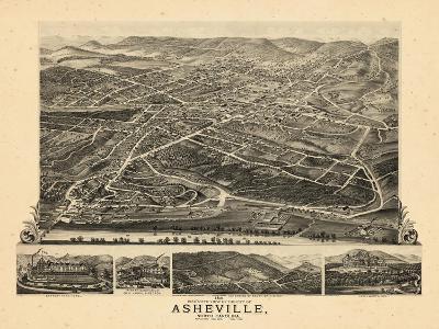 1891, Asheville Bird's Eye View, North Carolina, United States--Giclee Print