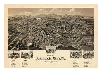 1891, Bedford City Bird's Eye View, Virginia, United States--Giclee Print