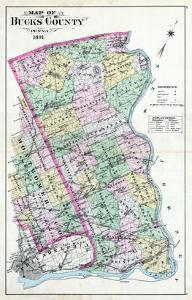 1891, Bucks County Map, Pennsylvania, United States
