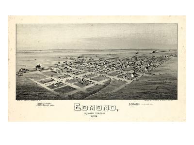 1891, Edmond Bird's Eye View, Oklahoma, United States--Giclee Print