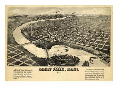 1891, Great Falls Bird's Eye View, Montana, United States--Giclee Print