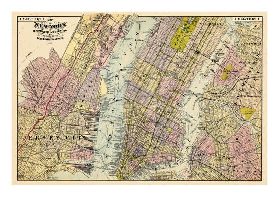 Map Of New York Brooklyn.1891 New York Map Brooklyn Jersey City New York United States Giclee Print By Art Com