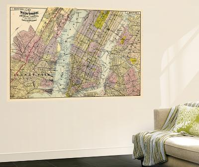 1891, New York, Map, Brooklyn, Jersey City, New York, United States--Wall Mural