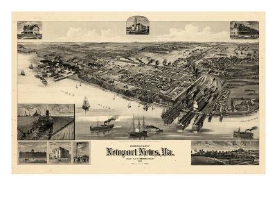 1891, Newport News Bird's Eye View, Virginia, United States--Giclee Print