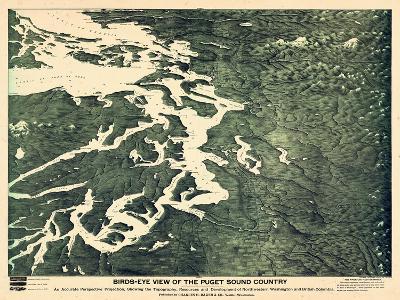1891, Puget Sound Bird's Eye View, Washington, United States--Giclee Print