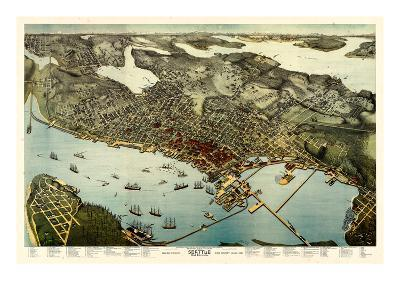 1891, Seattle Bird's Eye View, Washington, United States--Giclee Print