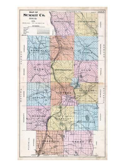 1891, Summit County Map, Ohio, United States--Giclee Print